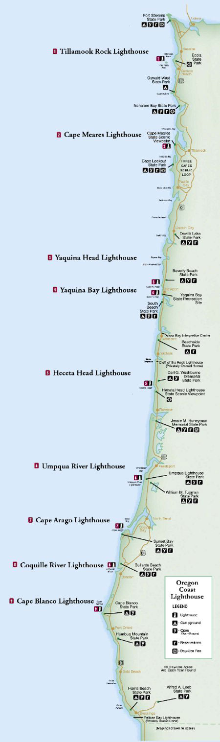 oregon coast lighthouse map